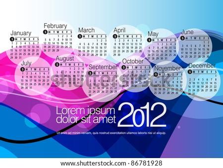 2012 Calendar. Vector illustration - stock vector