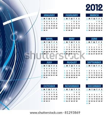 2012 Calendar. Vector Illustration. Eps10. - stock vector