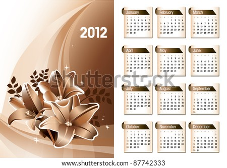 2012 Calendar. Vector Illustration. Eps10. - stock vector