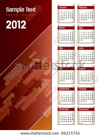 2012 Calendar. Vector Illustration in Eps10. - stock vector