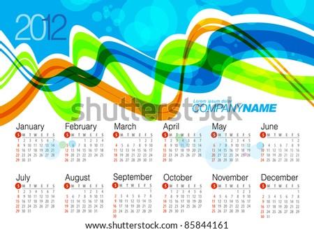 2012 Calendar. Wave Vector Illustration - stock vector