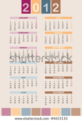 2012 Calendar (week starts on Mon; global colors) - stock vector