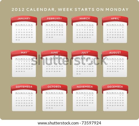2012 calendar, week starts on Monday - stock vector