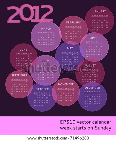 2012 calendar, week starts on Sunday - stock vector