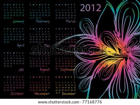 2012 calendar - week starts on Sunday - stock vector