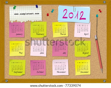 2012 calendar - week starts on Sunday - cork board with notes and pushpins --> 2013 CALENDAR ALSO AVAILABLE IN MY PORTFOLIO