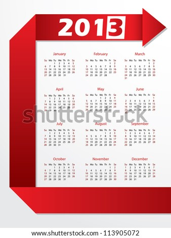 2013 calendar with arrow shaped red origami - stock vector
