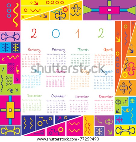 2012 calendar with colored frame for kids - stock vector