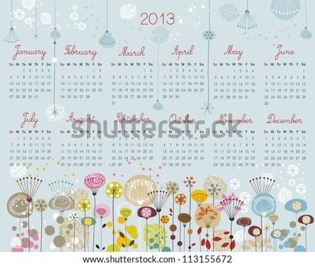 2013 Calendar with decorative floral, seasonal elements - stock vector