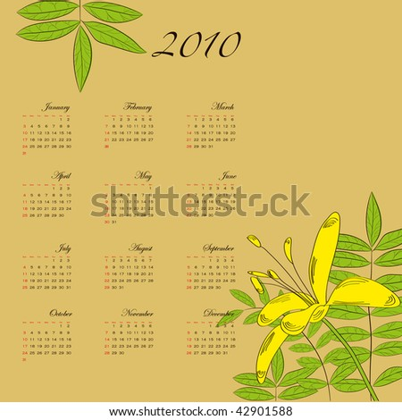 Calendar with decorative flowers for 2010