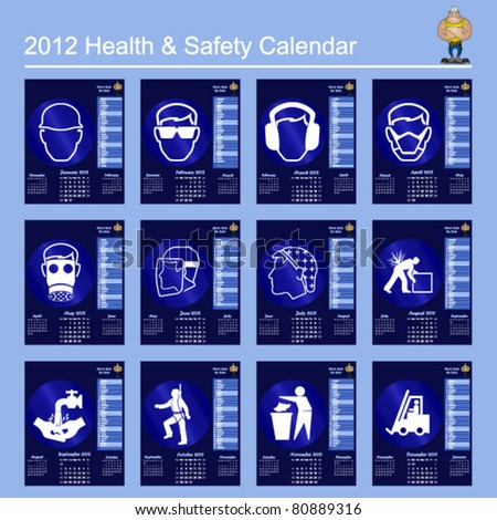 2012 calendar with mandatory health and safety theme - stock vector