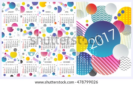 2017 calendar with modern design, colorful elements, annual report cover, calendar for 2017 year, week stars on sunday, calendar for every month, design calendar with circles