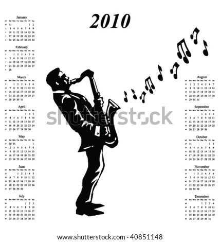 2010 calendar with musician playing the saxophone - stock vector