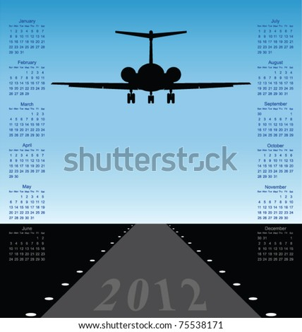 2012 calendar with plane landing at airport - stock vector
