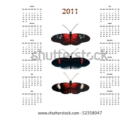2011 Calendar with Postman Butterflies. Raster image also available - stock vector
