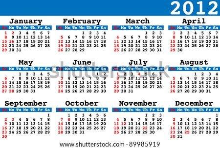 2012 calendar with us American holidays