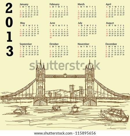 2013 calendar with vintage hand drawn illustration of famous tourist destination tower bridge of london. - stock vector