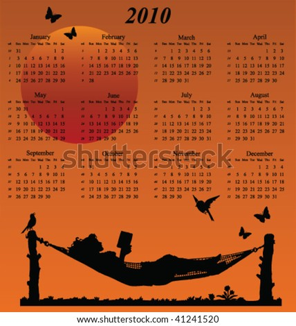2010 calendar with woman reading in a hammock - stock vector