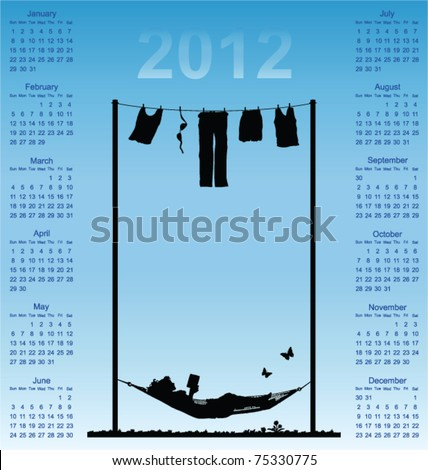 2012 calendar with woman reading in a hammock - stock vector