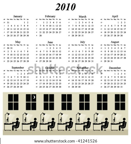2010 calendar with working late at the office theme - stock vector