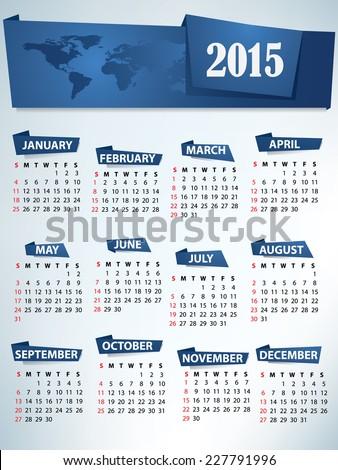 2015 Calendar with World map header - stock vector
