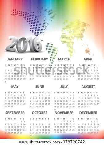 2016 Calendar with World map header - stock vector