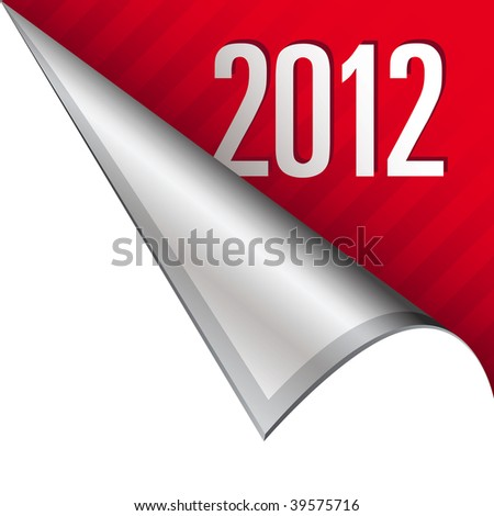 2012 calendar year icon on vector peeled corner tab suitable for use in print, on websites, or in advertising materials. - stock vector