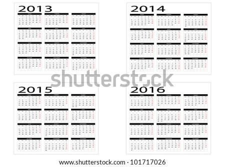 2013-2014-2015-2016 calendars - stock vector