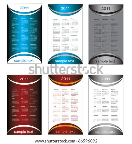 2011 calendars for business cards, vector set. - stock vector