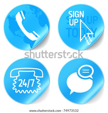 call center support icons blue - stock vector