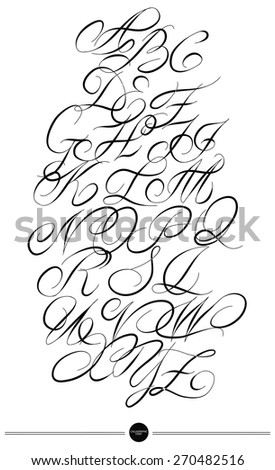 Calligraphic alphabet. Design elements can be used for invitation, congratulation. Digital illustration - stock vector
