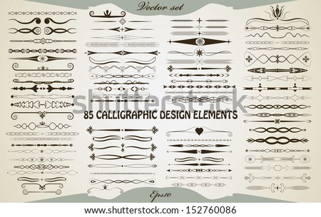 85 Calligraphic design elements, objects are grouped separately. Isolated vintage page dividers, decorations and other elements. Easy to edit retro style vector illustration. - stock vector