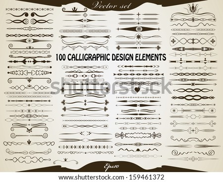 100 calligraphic vintage style design elements. Abstract retro style decorative elements set. Editable flourish dividers, decorations, labels and other vintage elements. Objects grouped separately. - stock vector