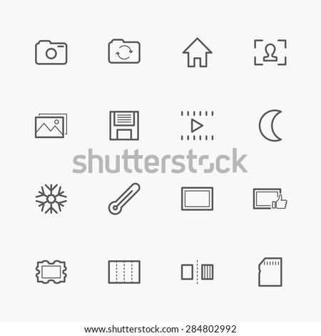 16 camera line icons - stock vector