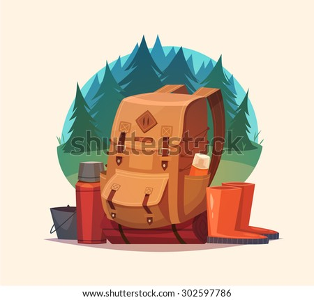 Camping emblem. Vector illustration. - stock vector