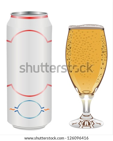 can and beer glass isolated on white - stock vector
