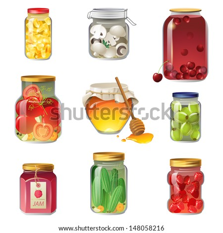 9 canned fruits and vegetables icons - stock vector