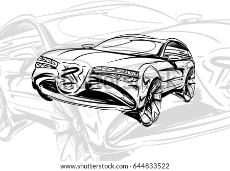 Car Concept Sketch Vector Hand Drawn Autodesign Automobile Drawing ...