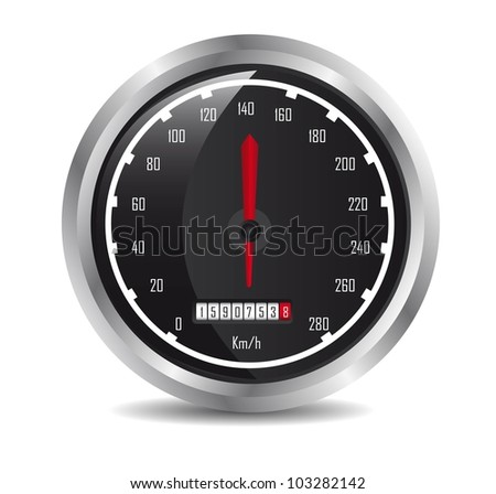 car speedometer with shadow over white background. vector
