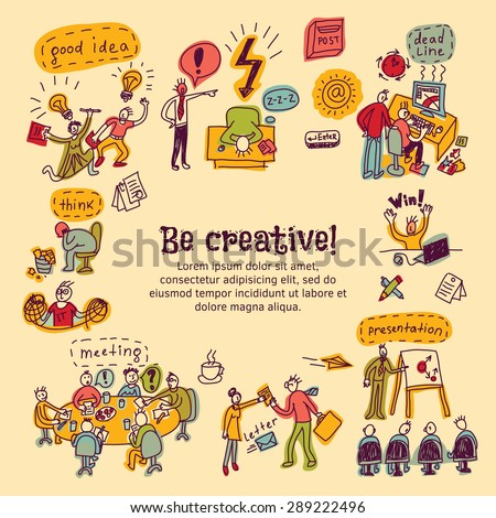Card hand drawn business people be creative  Card with creative people, symbols and icons. Every object is separated. Color vector illustration. - stock vector
