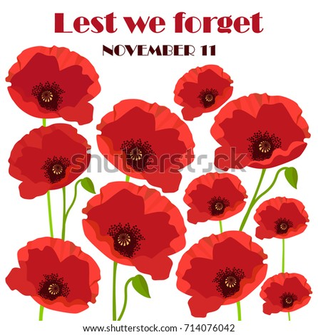 Card remembrance day november 11 poppies stock vector 714076042 card of remembrance day november 11 with poppies vector illustration mightylinksfo