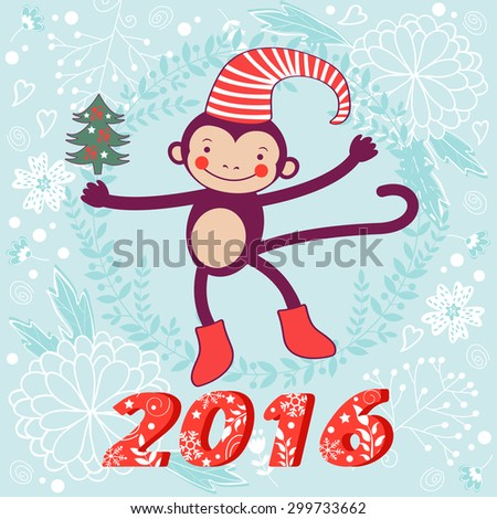 2016 card with cute funny monkey character on floral background in soft colors. Vector illustration