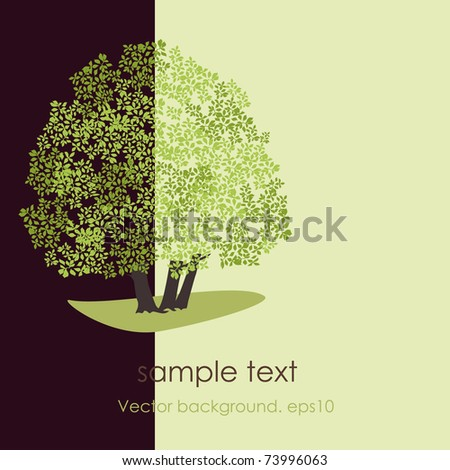 Card with stylized vector tree. EPS10 - stock vector