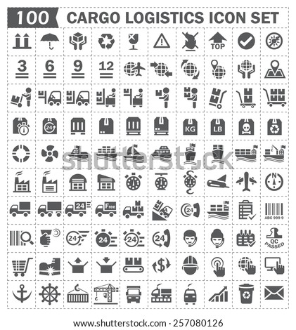 100 cargo logistics icon set. - stock vector