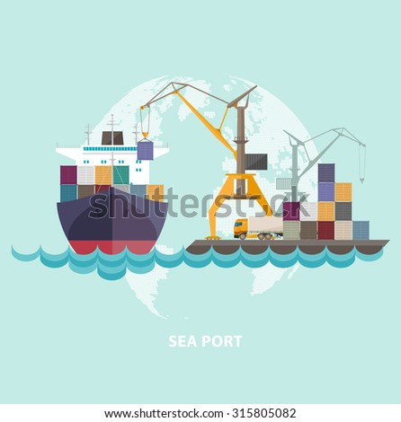 Cargo seaport with ship and cranes.   - stock vector