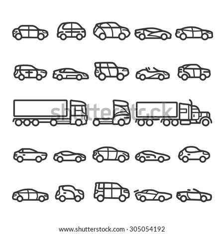 Cars icons set - stock vector