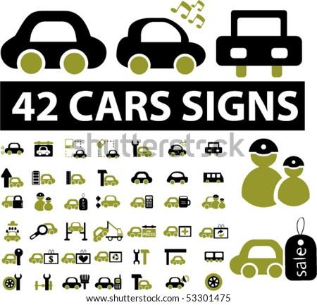 42 cars signs. vector