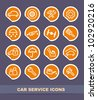 Cars spare parts and service icons on stickers - stock photo