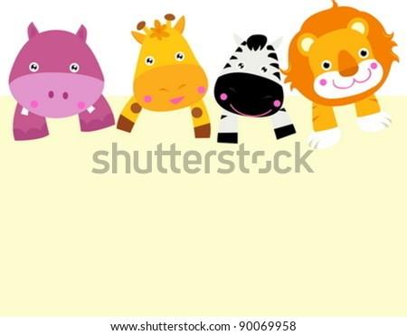 cartoon animal card - stock vector