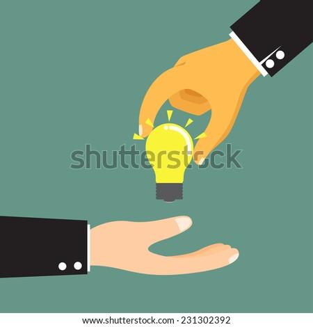 Cartoon businessman hand holding idea light bulb, giving idea or show idea vector illustration. - stock vector